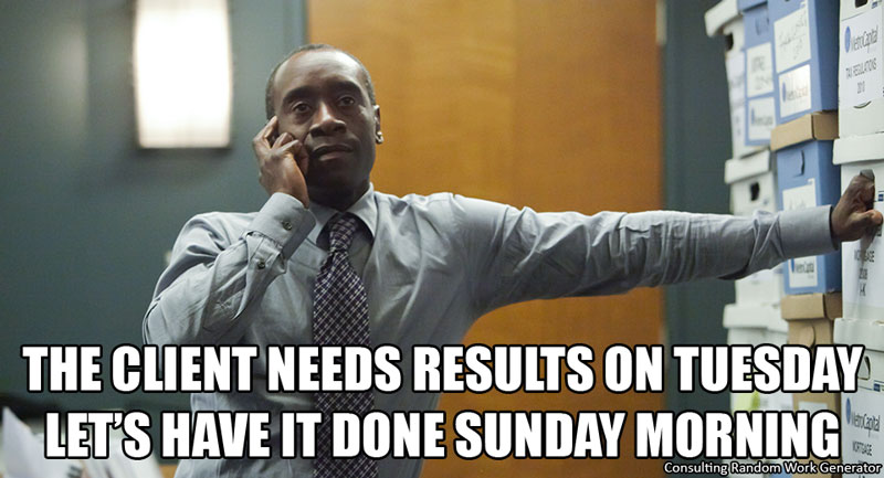 The client needs results on Tuesday. Let's have it done Sunday morning