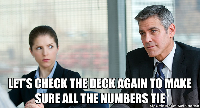 Let's check the deck again to make sure all the numbers tie