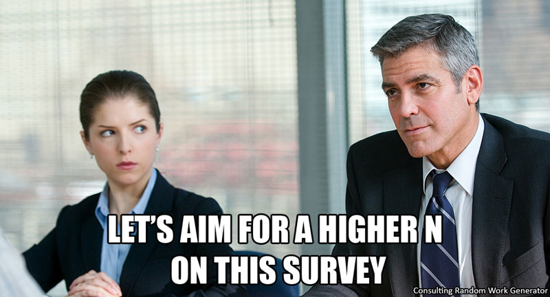 Let's aim for a higher N on this survey